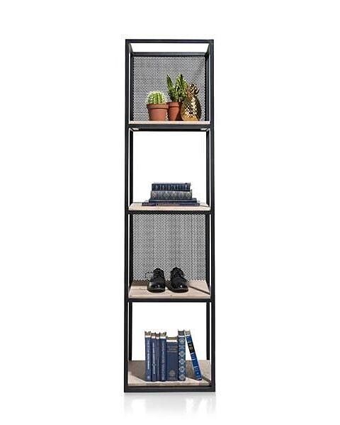Vincent, Rek 4-Niches +4-Legplanken +2 Verplaatsbare Metalen Panelen-171 Cm