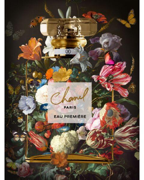 Glasschilderij Chanel Flesje Bloemen