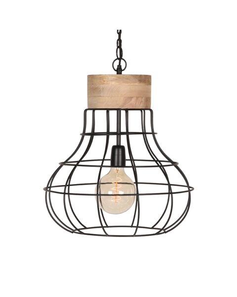 LABEL51 Hanglamp Drop Zwart Mangohout