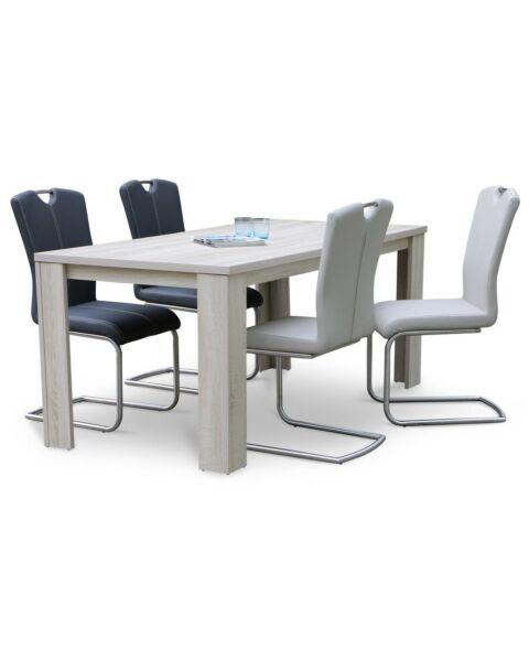 Eetkamertafel Oxford + vier eetkamerstoelen met RVS handgreep