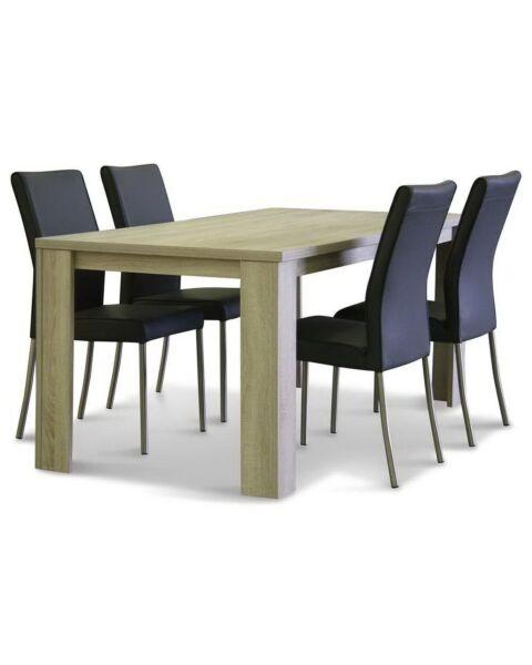 Eetkamertafel Oxford + vier eetkamerstoelen Darwin