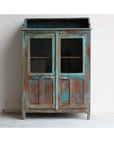 houten cabinet blauw