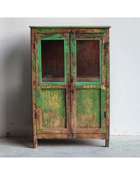Groene india Kast Met Glas