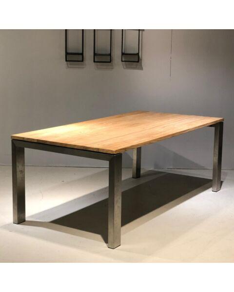 Moderne Houten Eettafel met Metalen Poot