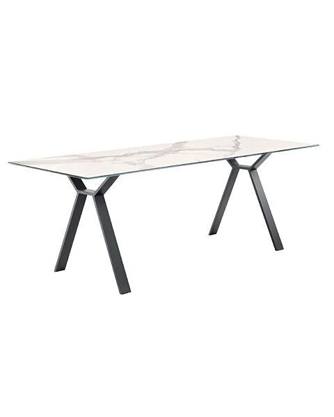Eettafel Cavinta rechthoek keramiek wit 220x90cm