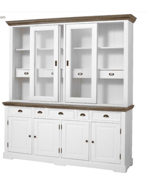 Buffet Cabinet Romy, wit met vergrijsd houten blad
